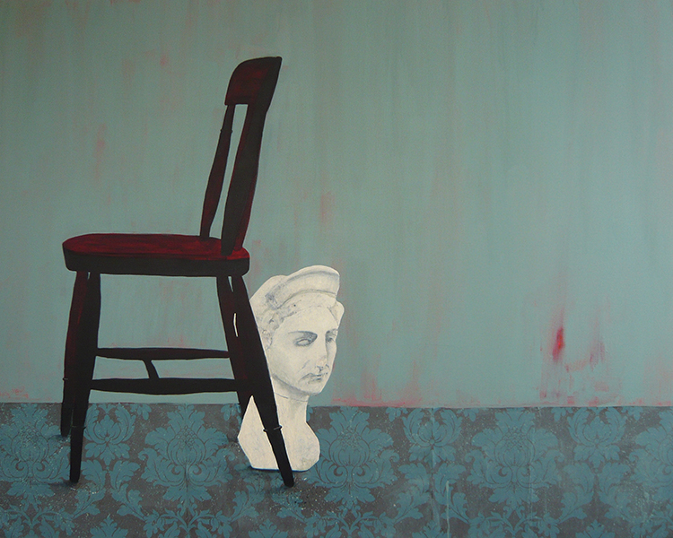 Painting by Jessica Holmes of Ozymandias and a chair