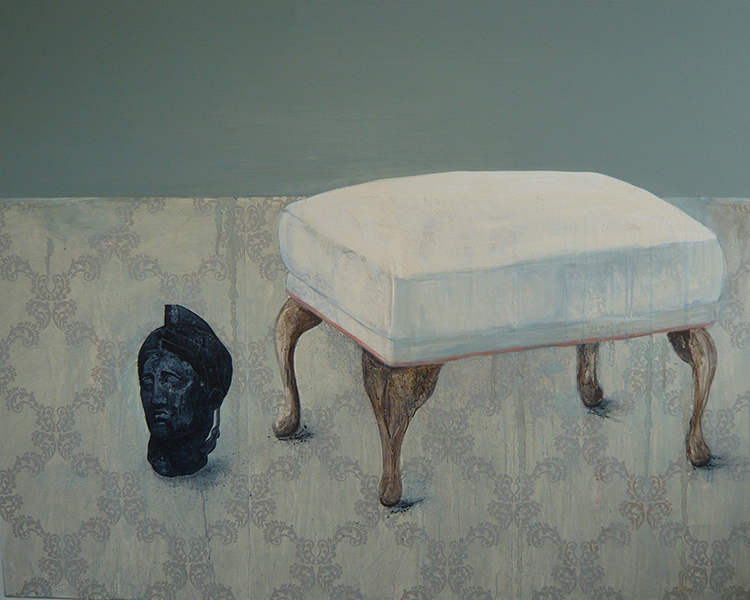Painting by Jessica Holmes of a stool and a statue