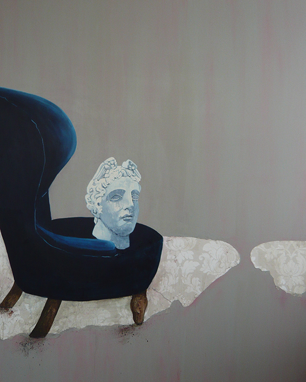 Painting  by Jessica Holmes of a blue chair and a bust