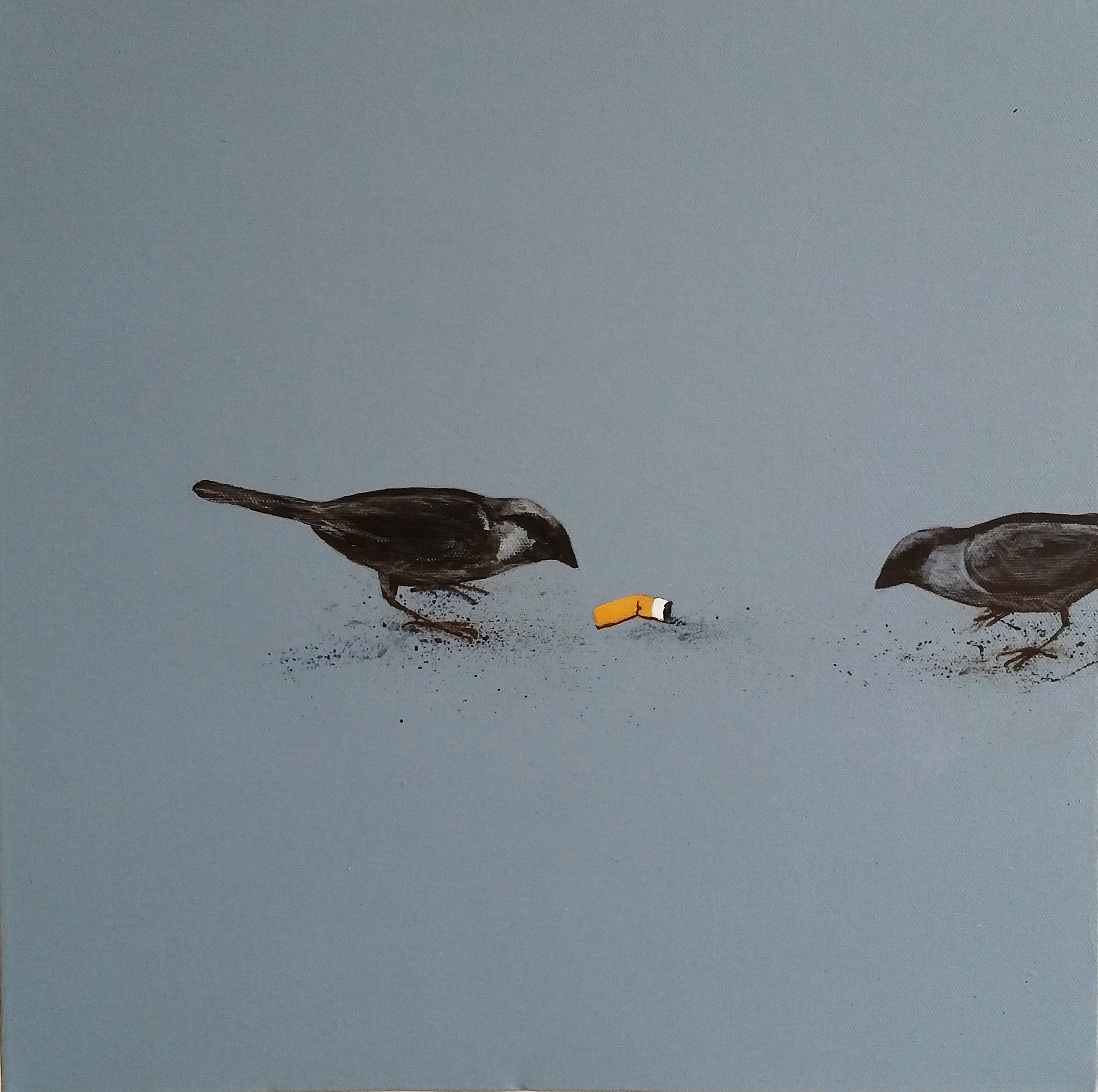 sparrows and cigarettes - painting by jessica holmes