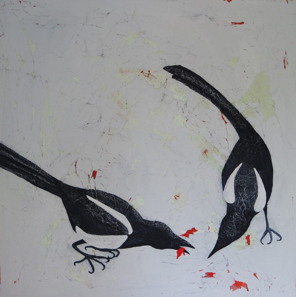 Painting of magpies by Jessica Holmes